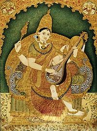 Saraswati Painting by Durgada Krishnappa